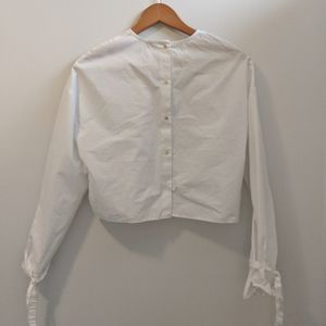 Wilfred Crop White Button Up Blouse Top
